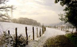 Snowy road in the Basque country stock image