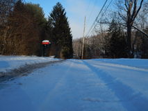 Snowy road. The beautiful white crisp snow Royalty Free Stock Image