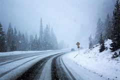 Snowy Road. A snowy road in Colorado, USA royalty free stock photos
