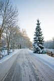 Snowy road in the countryside from the Netherlands. In winter Stock Photography