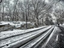 Snowy Road during Daytime Stock Images