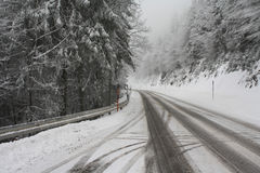 Snowy road through forest Stock Photo