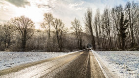 Snowy road in the italian countryside Stock Image