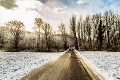 Snowy road in the italian countryside Royalty Free Stock Image