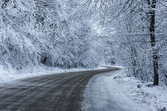 Snowy Road. Just a hard for travel road in the winter stock photos