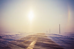 Snowy road Royalty Free Stock Images