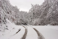 Snowy road in mountain 4 Stock Photography