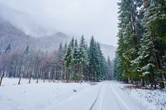 Snowy road in mountains Royalty Free Stock Image