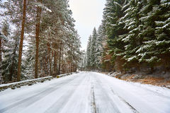 Snowy road in the mountains Royalty Free Stock Images