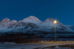 Snowy road near Svensby village in Norway during Polar Night Stock Image