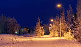Snowy road at night Stock Image