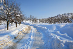 Snowy road. Piedmont, Italy. Stock Images