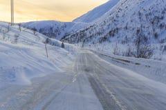 Snowy road on Senja Island Royalty Free Stock Image