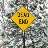 Snowy road sign. stock photography