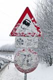 Snowy road signs Stock Image