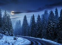 Snowy road through spruce forest at night. Winter mountain landscape. winding road that leads into the spruce forest covered with snow at night in full moon royalty free stock photo