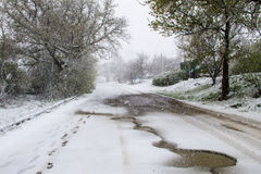 Snowy road during sudden April snow storm in Ukraine Royalty Free Stock Photo