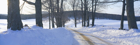 Snowy Road at Sunset, Near Woodstock, Vermont Stock Image