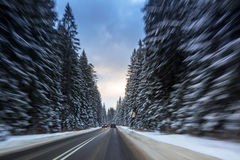 Snowy road in Tatra mountains Royalty Free Stock Photo