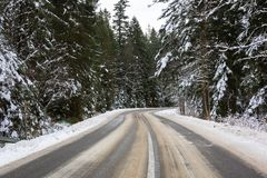 Snowy road in Tatra mountains. Poland Royalty Free Stock Photos