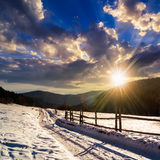 Snowy road to coniferous forest in mountains at sunset Stock Image