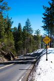 Snowy road to Yosemite Valley stock photo