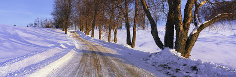 Snowy road in Vermont Royalty Free Stock Photography
