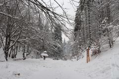 Snowy road from the waterfall stock photography
