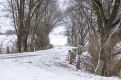 Snowy road in the winter Royalty Free Stock Photography