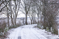 Snowy road in the winter Stock Photography