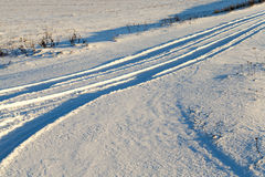 Snowy road, winter Royalty Free Stock Photo