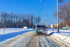 Snowy road after winter snowfall Royalty Free Stock Image