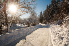 Snowy road in winter village sunshine with blue sky Royalty Free Stock Images