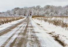 Snowy Road in Winter in Wisconsin stock images