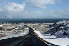 Snowy road in wintertime Stock Image
