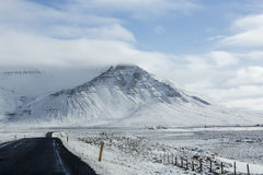 Snowy road in wintertime. Iceland Royalty Free Stock Photography