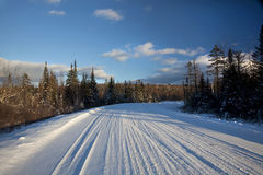 Snowy Road into Woods. A snowy road leading into the woods in the White Mountains of New Hampshire Stock Image