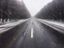 Snowy roads Royalty Free Stock Image