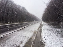Snowy roads Royalty Free Stock Images