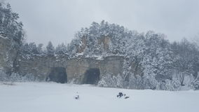 snowy rock quarry Stock Photo