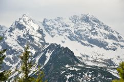 Snowy rocky mountain peaks. Royalty Free Stock Image