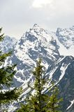 Snowy rocky mountain peaks. Royalty Free Stock Photo