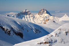 Snowy and Rocky Mountains in France Royalty Free Stock Photos