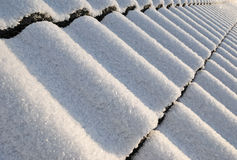 Snowy roof perspective. In january Stock Images
