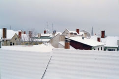 Snowy roof-scape Stock Photo