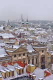 Snowy roofs of Prag Royalty Free Stock Images