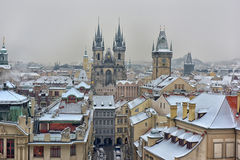 Snowy roofs of Prag Stock Images