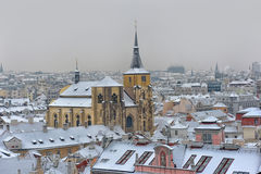 Snowy roofs of Prag Stock Image
