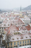 Snowy roofs of Prague Stock Photography