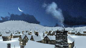 Snowy roofs of rustic houses at winter night. Snow covered roofs of rustic houses at snowfall winter night with a half moon. Chimney with smoke on foreground Royalty Free Stock Photos